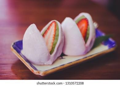 Daifuku strawberry on the table