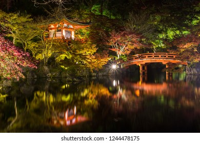 Daigoji Japanese Buddhism temple is The world heritage site with many leaf colorful maple trees during light up autumn leaves in Kyoto, Japan