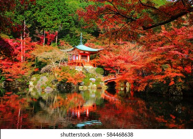 Daigoji or Daigo-ji Temple with autumn foliage colors in Kyoto, Japan. Here is one of the most famous Kyoto landmarks during fall season.