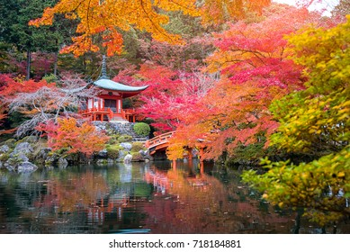 Daigo-ji temple with colorful maple trees in autumn, Famous temple in autumn color leaves and cherry blossom in spring, Kyoto, Japan.