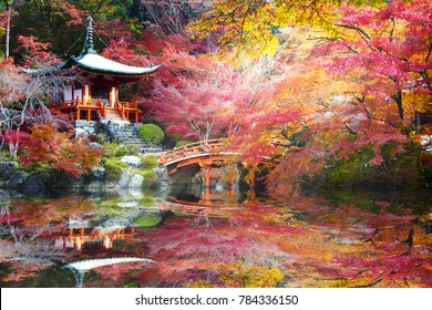 The Daigo-ji temple with colorful maple trees in autumn, Kyoto, Japan