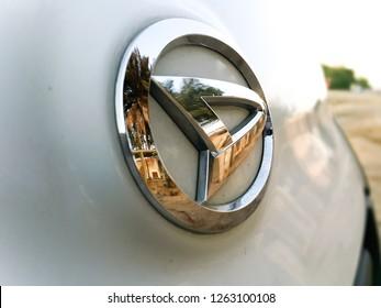Daihatsu logo on the vehicle - Abu Dhabi, United Arab Emirates - November 15, 2018