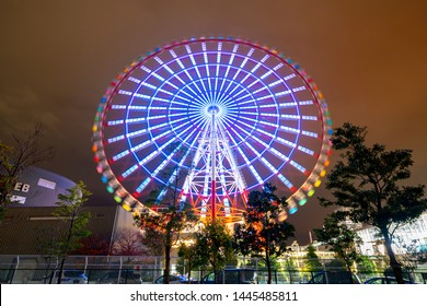 Daikanransha also called Giant Sky Wheel in Palette Town at night It is the third tallest Ferris wheel ever constructed in Japan. Odaiba, Tokyo, Japan.