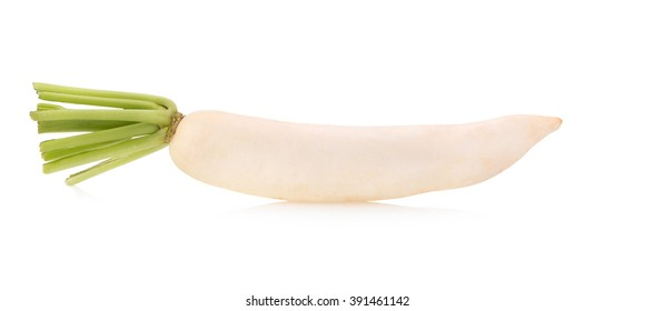 Daikon radishes isolated on white background.