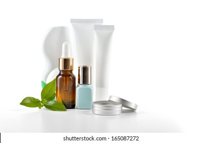 Daily, beauty care cosmetic isolated on white background. Face cream, eye cream, serum and lip balm. Skin care.