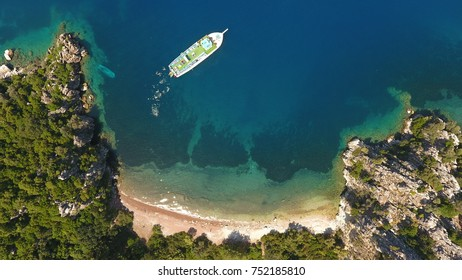 Daily Boat trip in Aegean Sea, amazing bay. Aerial view