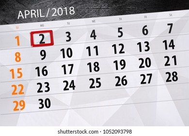 The daily business calendar page 2018 April 2