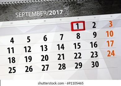 Daily calendar for september 2017