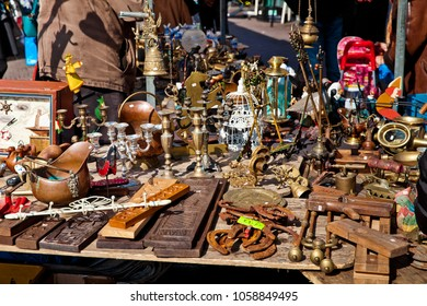Daily flea market on Waterlooplein Square in Amsterdam city, Netherlands