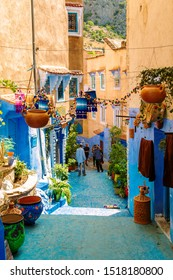 The daily life of the famous blue city of Chefchaouen. Chefchaouen, Morocco - September 13, 2019.