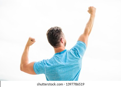 Daily motivation. muscular back man isolated on white. Sexuality and moving concept. i am a winner. champion in life. man celebrating victory or success. happy winning gesture.