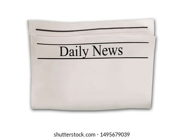 Daily News newspaper blank. Mockup isolated on white background. News paper with headline. Vintage old gray beige sepia grunge texture. Space for text and images.