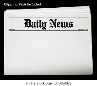 Daily Newspaper Blank Content Isolated with Clipping Path.