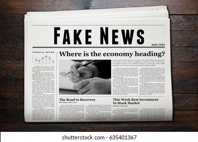 Daily newspaper showing 'Fake News' as headline.