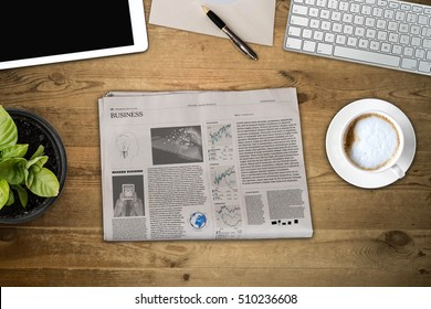 Daily newspaper and tablet pc on the wooden table. Text generated Lorem ipsum.