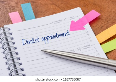Daily planner with the entry Dentist appointment