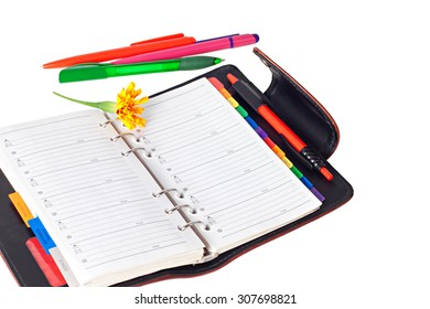 Daily planner, handles,flower on  white background