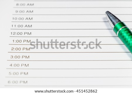 daily planner time planner pen stock photo edit now 451452862