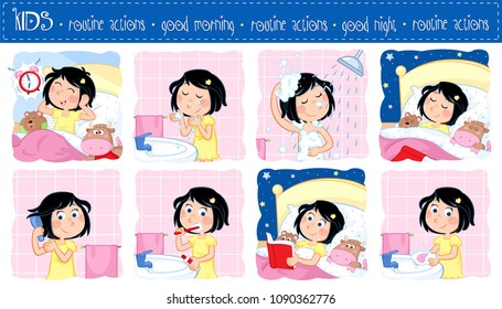Daily routine actions of a little girl with dark hair - Good morning and good night - Set of eight lovely cartoon illustrations