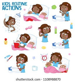Daily routine of a little black girl with dark brown hair - Set of eight good morning and good night routine actions - Isolated - White background