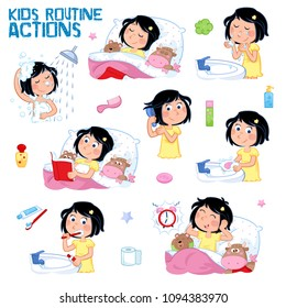 Daily routine of a little girl with dark hair - Set of eight good morning and good night routine actions - Isolated - White background