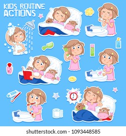 Daily routine of a little girl with light brown hair - Set of eight good morning and good night routine actions - Isolated - Blue background