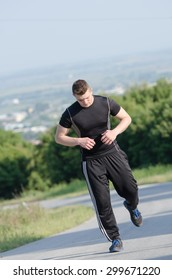 Daily workout with a men, jogging and stretching