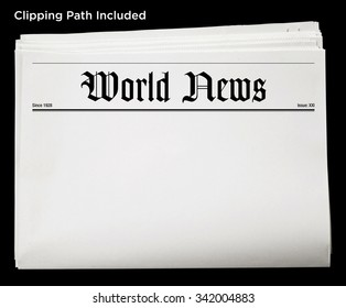 Daily World Newspaper Blank Content Isolated with Clipping Path.