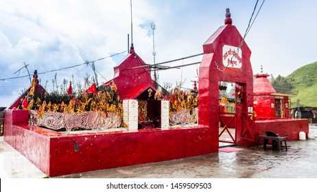 Dainkund Peak, Dalhousie, Chamba, Khajjiar, Himachal - 21 July, 2019 - A view of Pohlani Devi Temple located at an altitude of 2755 meters.