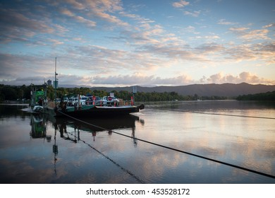 The Daintree River ferry crossing at sunset near the ferry crossing in far nth Queensland, Australia