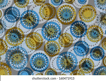 Dainty  circular modern abstract design superimposed  on  a plain grey background  in subtle yellow and blue tones  is ideal for distinctive wallpapers.