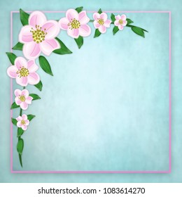 Dainty pink apple blossoms background isolated on soft faux textured background.