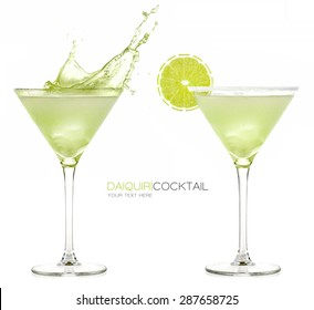 Daiquiri frozen cocktail with big splash isolated on white background. Design template with sample text