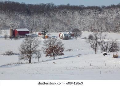 Dairy Farm in Winter Snow