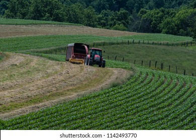 Dairy farmer putting up haylage in early summer in rural Appalachia