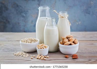 lait sans lait, boisson et ingrédients pour le petit-déjeuner - nourriture et boisson
