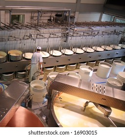 A dairy plant in Switzerland processing fresh milk into cheese.
