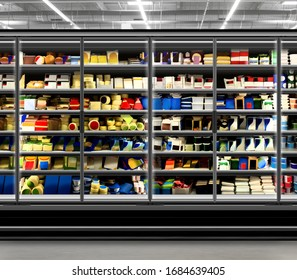 Dairy product, yogurt, milk and chesse photo mockup in glass door commercial refrigerator at supermarket. Suitable for presenting new Dairy packaging or label designs among many others.