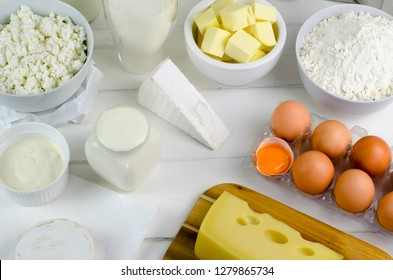 Dairy products: cottage cheese, milk, yogurt, flour, cheese, eggs, butter. 10