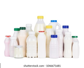Dairy products grocery assortment isolated on white background