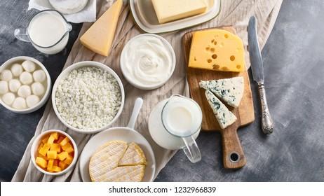 Dairy products.  Milk, cheese, sour cream, cottage, yogurt and butter on dark background