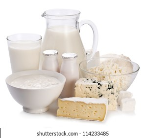 Dairy products on a white background. Milk concept. Organic food.