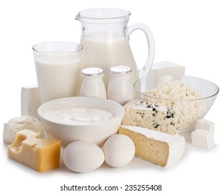 Dairy products on a white background. Clipping path. Organic food.