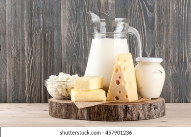 Dairy products on wood