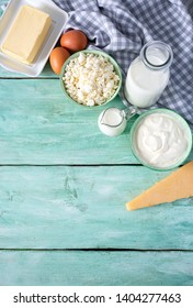 dairy products on wooden surface