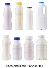 Dairy products packaging set. Milk bottles blank mock-up design collection. Clean closed yogurt bottles isolated on white background.