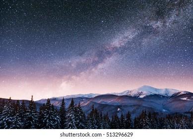 Dairy Star Trek in the winter woods. Dramatic and picturesque scene. Carpathian, Ukraine, Europe.