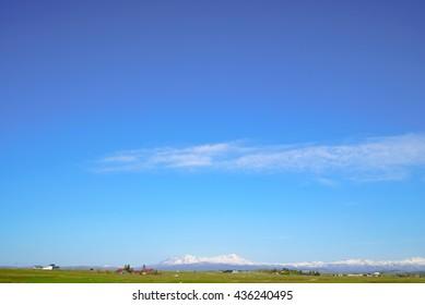 Daisetsuzan seen from Asahikawa , Blue sky , with copy space , may
