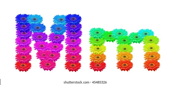 Daisy Upper and Lower Case M isolated with clipping path