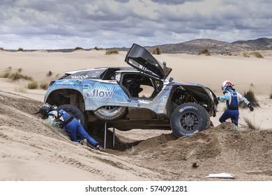 Dakar Rally 2017 in Paraguay, Argentina, Bolivia. 2/14 Jenuary 2017. Romain Dumas/Alain Guehennec, Peugeot.